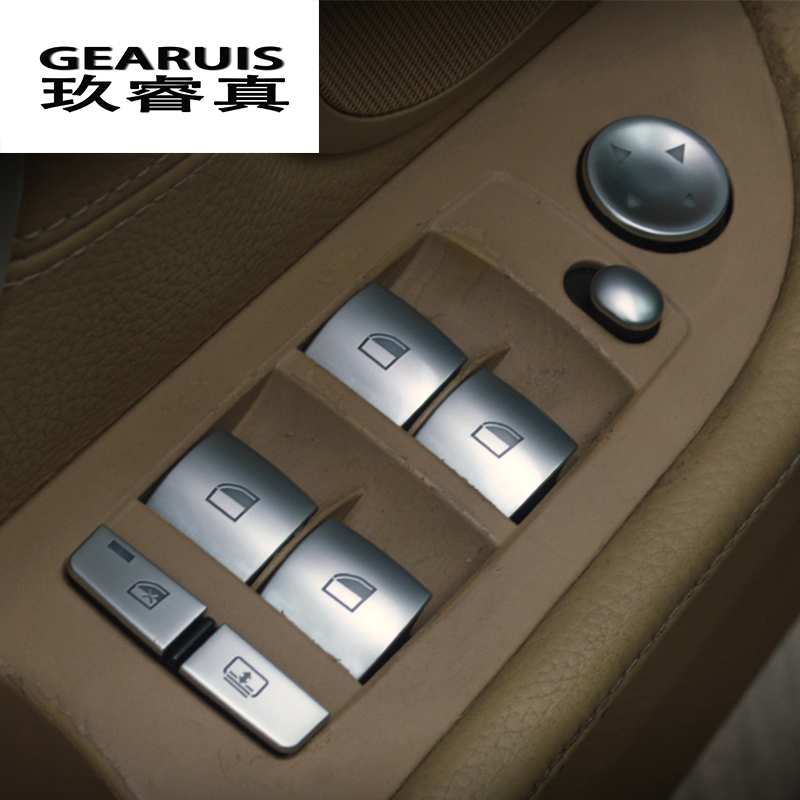 Voiture style fenêtre poussoir contrôle cadre boutons interrupteur décor accoudoir panneau couvre autocollants pour BMW e90 3 série Auto accessoires
