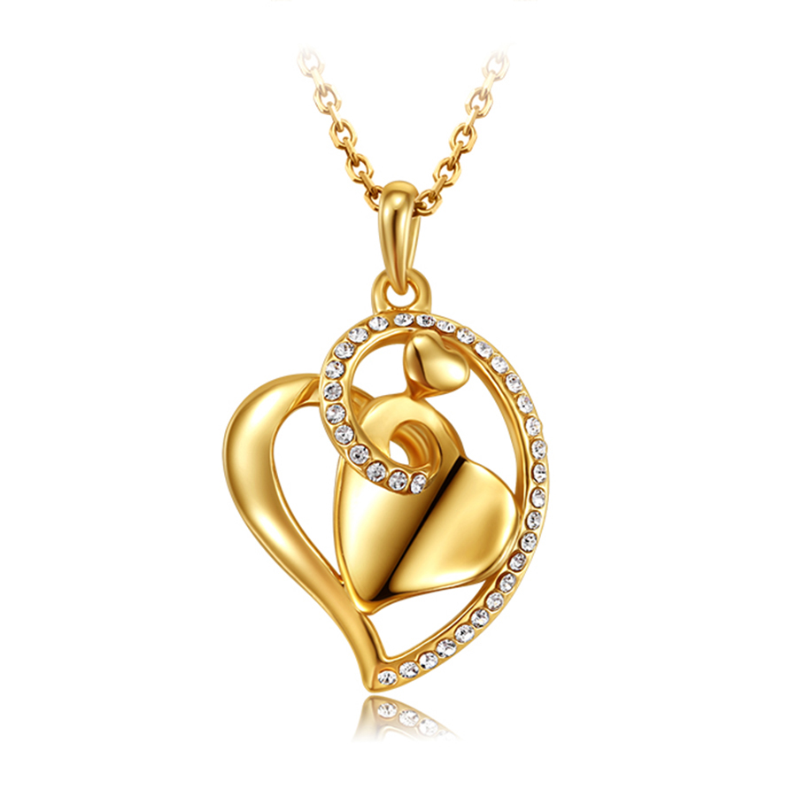 collar mujer famous brand jewelry gold plated heart love ...