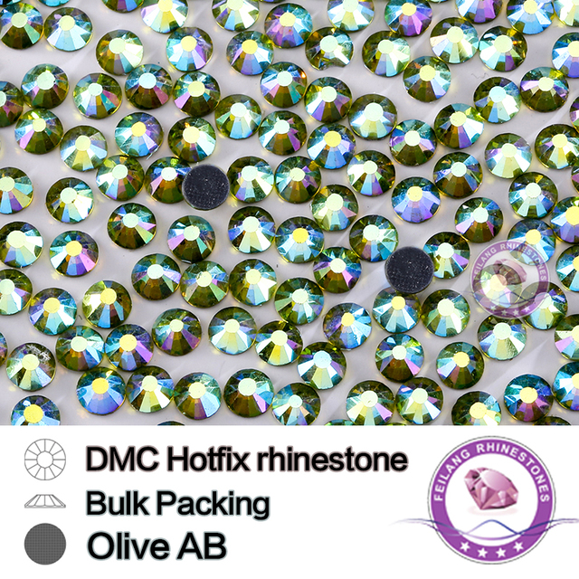 Olivine AB Size SS16 SS20 SS30 Bulking Packing HotFix Rhinestone For Garments Bags And Shoes