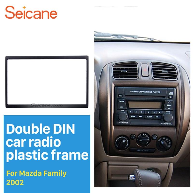 Seicane Popular Double Din Car Radio Fascia for 2002 Mazda Family Dash Mount DVD Frame Panel Kit Car Stereo Installation