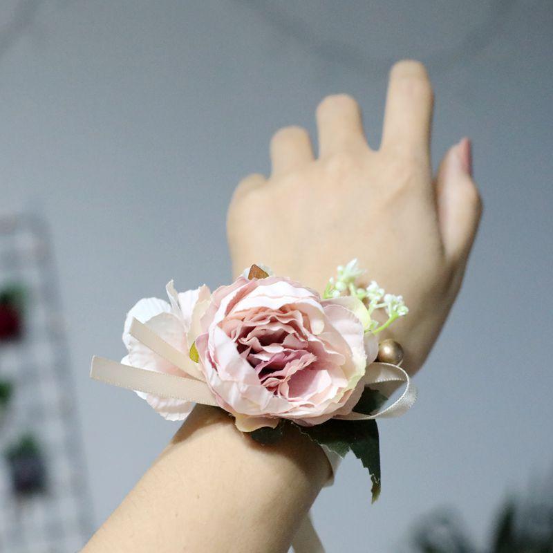 Hand Corsage Flowers Prom Bracelets Corsages Hand Wrist Flower Purple Wedding Flowers Bracelet Bridesmaid Bridemaids Accessoirs