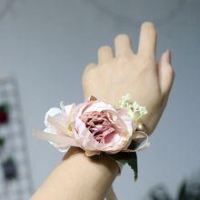 Hand Corsage Flowers Prom Bracelets Corsages Wrist Flower Purple Wedding Bracelet Bridesmaid Bridemaids Accessoirs