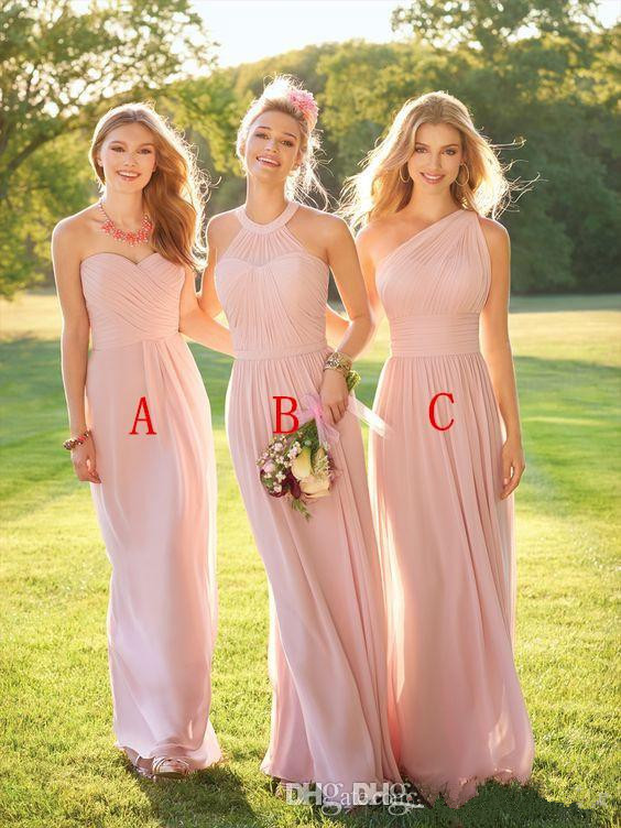 Blush 2019   Bridesmaid     Dresses   For Women A-line Halter Chiffon Backless Long Cheap Under 50 Wedding Party   Dresses