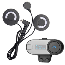 FreedConn TCOM-SC Interphone Bluetooth Casco de La Motocicleta Intercom Headset Pantalla LCD Casco Auriculares con Radio FM + Auricular Suave