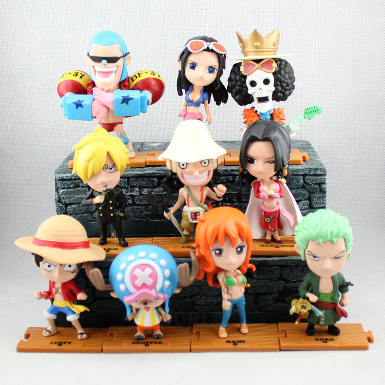 Anime 7-10CM 10PCS/SET One Piece 2 Years Zoro Sanji Luffy Nami Franky Chopper Robin PVC Action Figure Collectible Model Toy one piece quality goods koala pvc figure 23cm toy model luffy zoro sanji nico robin nami for unisex kids friends japan anime hot