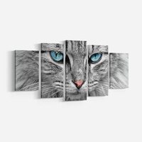 5 Pieces Modern Art Grey Cat With Blue Eyes Canvas Painting Wall Art Picture Animal Print And Poster Room Decoration