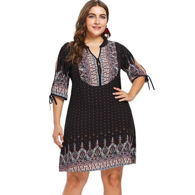 Kenancy Plus Size Dress Women Ethnic Button Embellished Dress V Neck  Geometric Split Sleeve Knee-Length A-Line Summer Dress 2018 923a1a012d3a