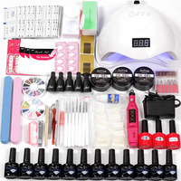 Manicure Set Acrylic Nail Extension Kit 12pcs Gel Polish Base Top Coat&36w/48w Led Uv Lamp Electric Manicure Handle Nail set