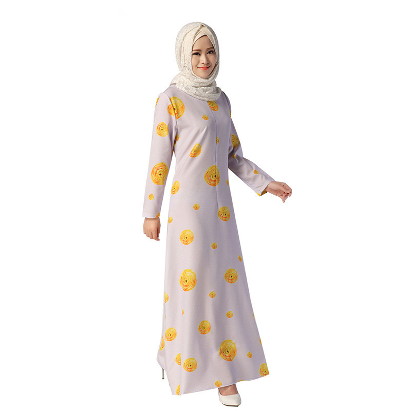 b50fcc625 Luz púrpura de manga larga musulmán de estilo étnico abays La vestido flojo  impreso floral o-cuello lindo algodón Maxi piso- longitud del vestido