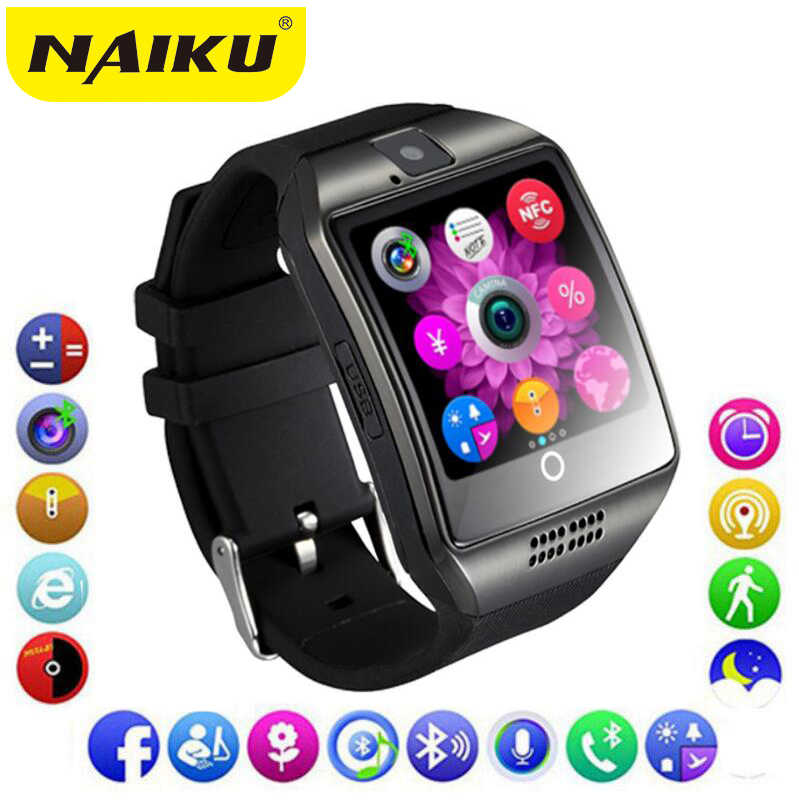 NAIKU Bluetooth スマートウォッチの男性と Q18 タッチスクリーンビッグバッテリーサポート TF Sim カードカメラ Android 携帯スマートウォッチ