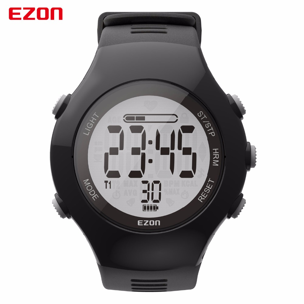 Original EZON T043 Optical Sensor Heart Rate Monitor Fitness Digital Watch Pedometer Calorie Counter Men Women Sports Watch new ezon t043 optical sensor heart rate monitor pedometer calorie counter digital sport watch powerd by philips wearable sensing
