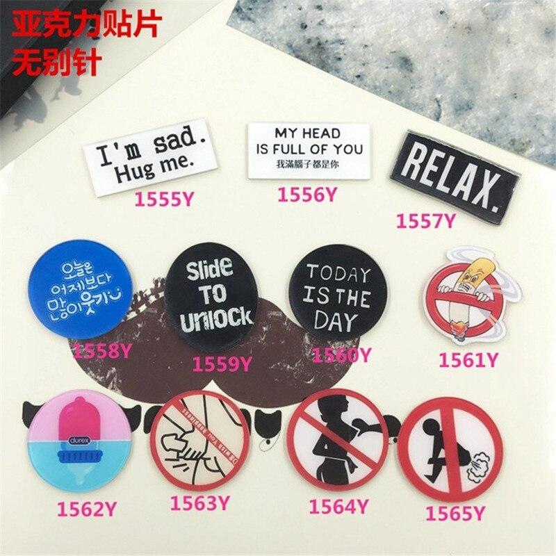 Acrylic Badge cartoon creative brooch Warning signs Collar Tips Enamel Broche XZ43