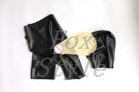 Exotic rubber latex hoods connect shorts panties with sexy trasparent