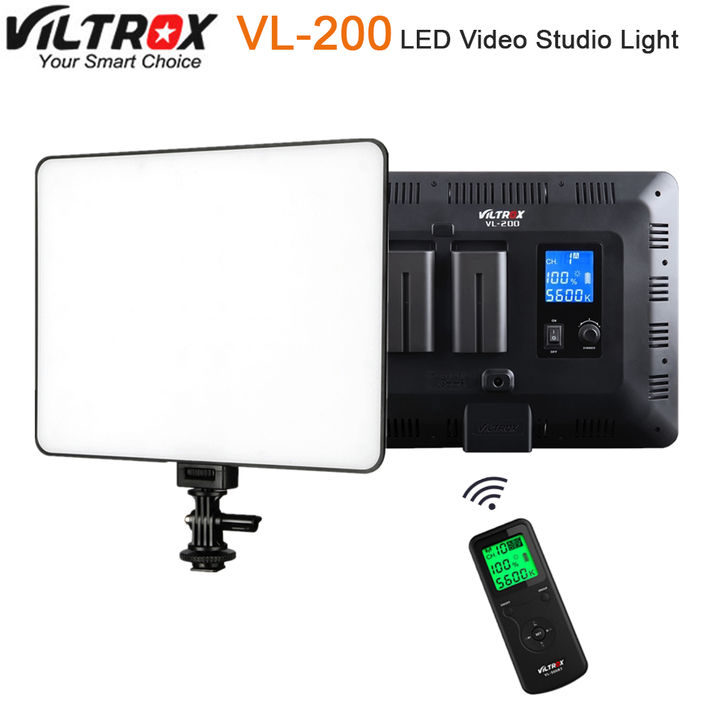 Viltrox VL-200 Pro Wireless Remote LED Video Studio Light Lamp Slim Bi-Color Dimmable + AC Power Adapter for Camcorder Camera viltrox vl 200 pro wireless remote led video studio light lamp slim bi color dimmable ac power adapter for camcorder camera