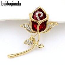 Baiduqiandu бренд высокое качество стекло кристалл красный броши в форме цветка розы для женщин или свадьбы