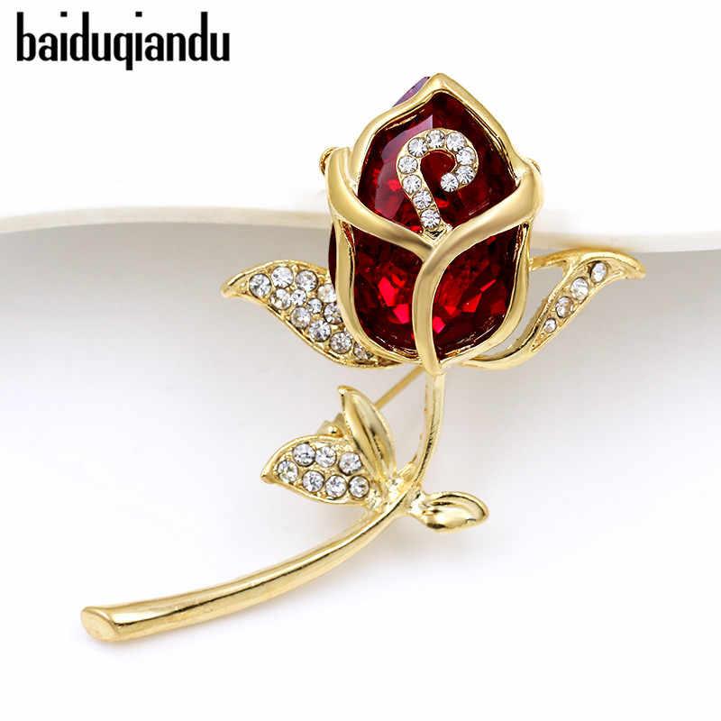 Baiduqiandu di Marca di Alta Qualità del Vetro di Cristallo Rosso Fiore di Rosa Spille per Le Donne o di Cerimonia Nuziale