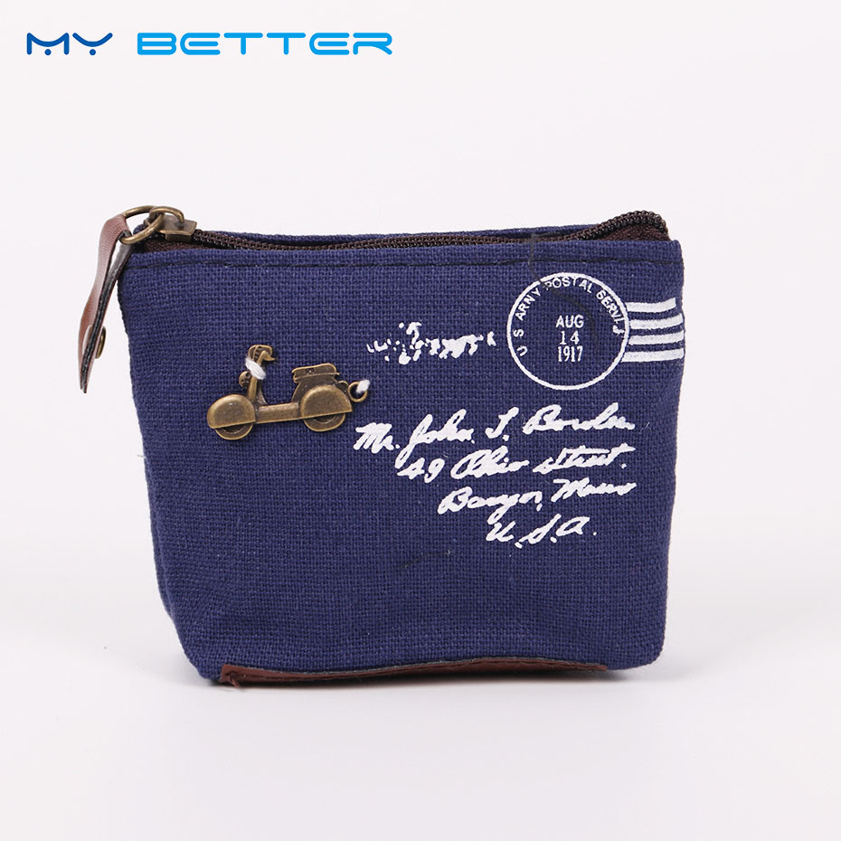 2PCS Cotton Pocket Pouch Women Zipper Key Case Holder Wallet Canvas Retro Small Change Coin Purse Little Key Pouch Money Bag japanese pouch small hand carry green canvas heat preservation lunch box bag for men and women shopping mama bag