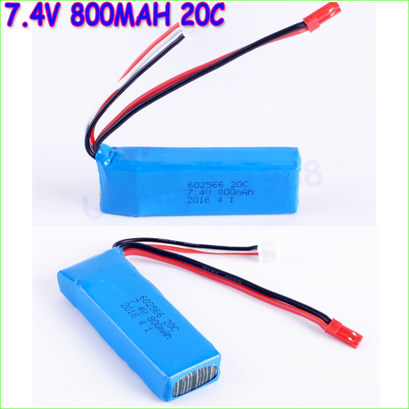2pcs/lot RC Lipo Battery 7.4V 800mAh 20C Battery for RC Quadcopter RC Car Airplane Helicopter Aircraft 5x 3 7v 150mah 20c battery and usb cable set for jjrc h20 rc quadcopter 3 7v 150mah 20c battery rc helicopter parts