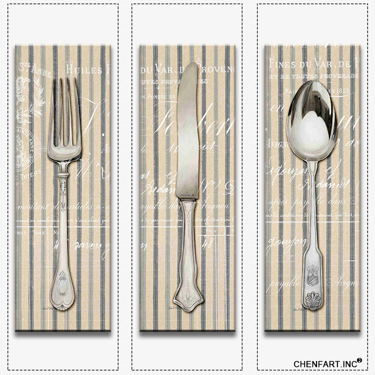 Hot sells 3panels one set painting canvas spoon fork knife for Decoration maison aliexpress