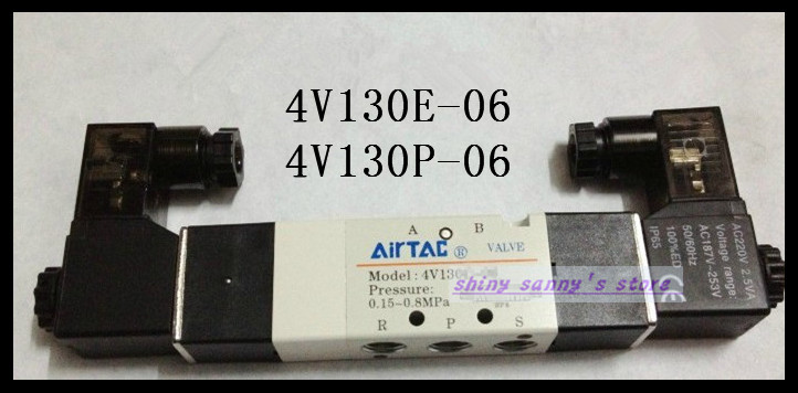 1Pcs 4V130P-06 AC220V Solenoid Air Valve 5 port 3 position BSP 1/8 Brand New 1pcs 4v110 06 ac220v lamp solenoid air valve 5port 2position bsp