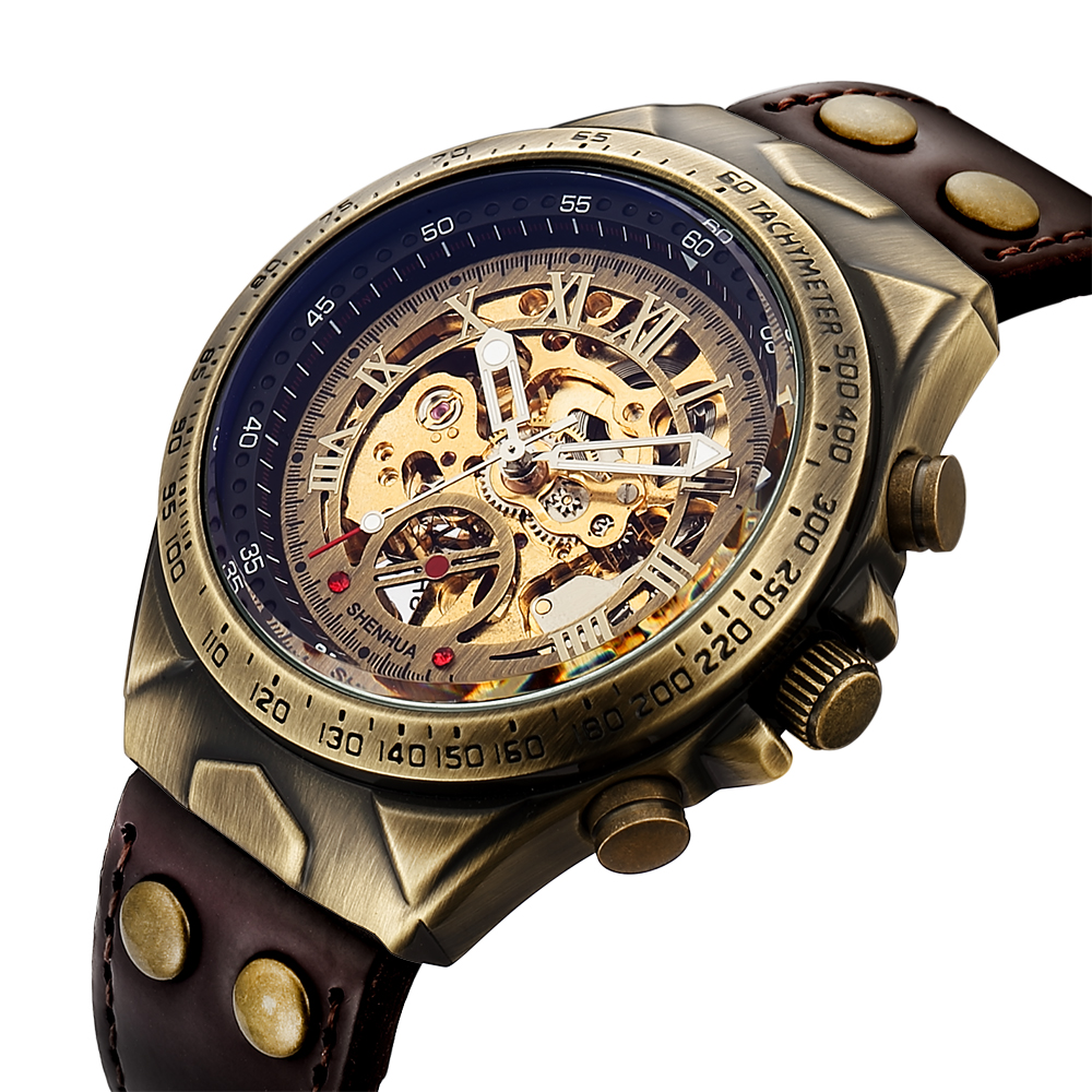 Man Watch 2018 New Skeleton Watch Vintage Bronze Automatic Mechanical Watches Men Fashion Sport Steampunk Watches montre homme