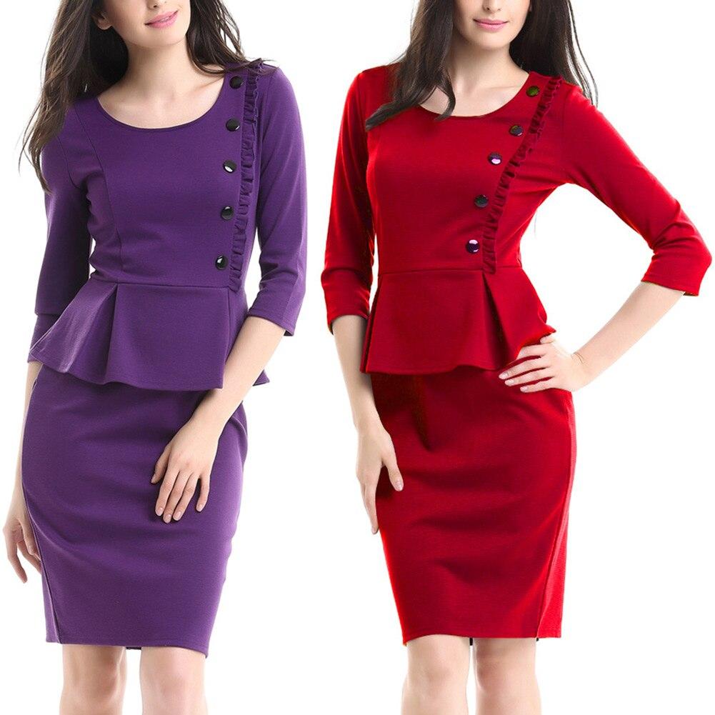 Women Elegant Work Peplum 3/4 Sleeve Dress Office Patchwork Ruffle Office Pencil Knee-Length Dresses FS99