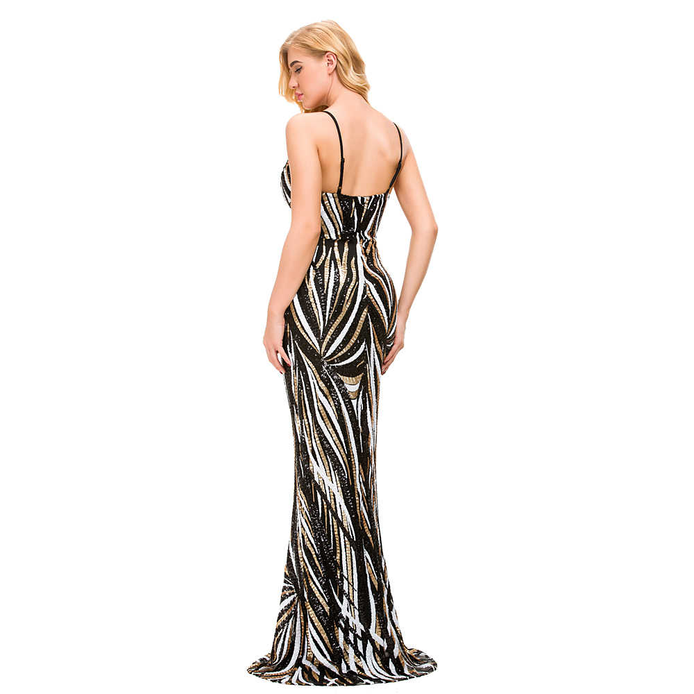 7e4a98cae2688 ... Black & White Mixed Gold Striped Sequined Long Party Dress Deep V Neck  Sleeveless Open Back ...
