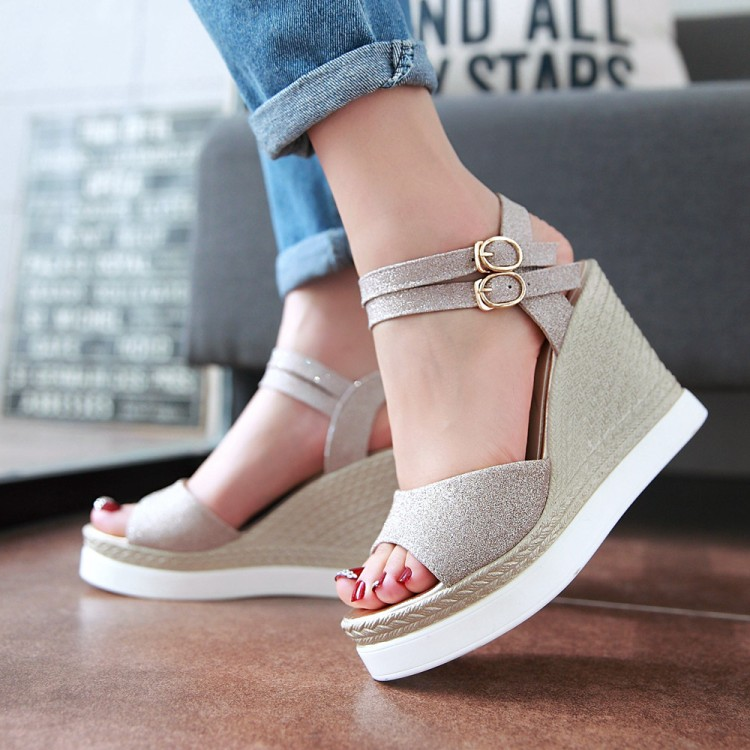 Soft Leather Buckle Strap Women Sandals,Wedges Platform Shoes OL Casual Footwear,2017 New Zapatos Mujer Fashion Sexy Peep Toe 2017 summer shoes woman platform sandals women soft leather casual open toe gladiator wedges slides women shoes zapatos mujer