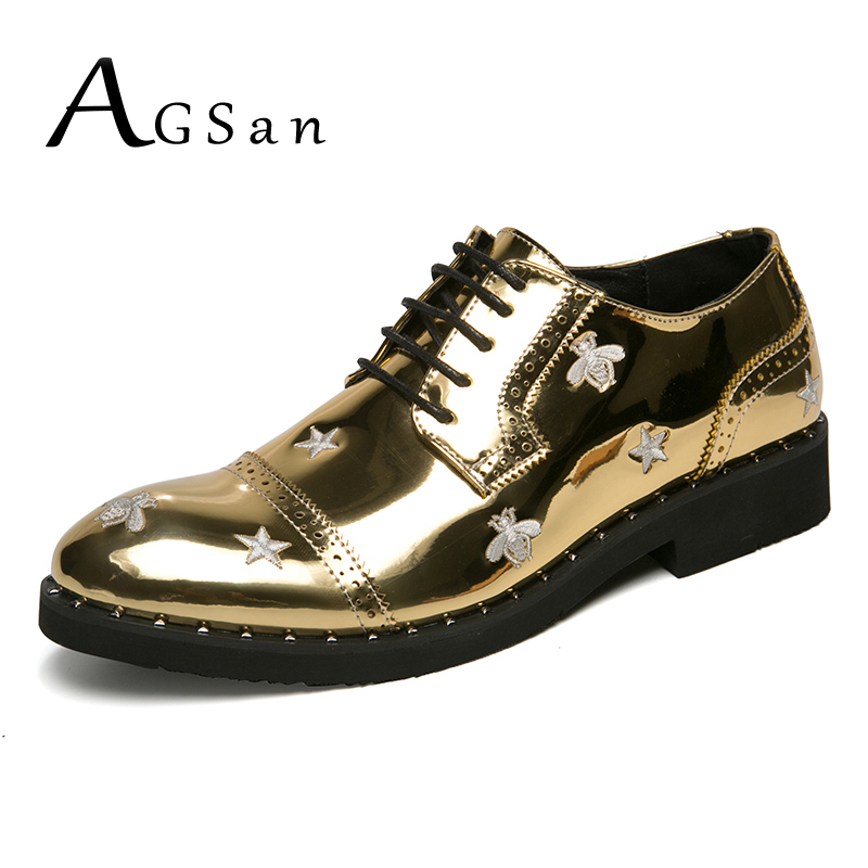 AGSan Gold Men Dress Shoes Lace Up Fashion Mens Oxfords Brogue Dress Oxfords Printing Bee Shoes Party Shoes for Men Pointed Toe agsan luxury brand men oxfords business shoes burgundy formal shoes men dress shoes lace up wedding oxfords pointed toe shoes