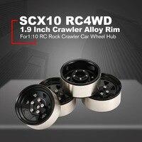 4PCS 1.9 Inch Crawler Alloy Rim Beadlock for 1:10 RC Rock Crawler Car Axial SCX10 RC4WD TAMIYA CC01 RC Truck Wheel Hub