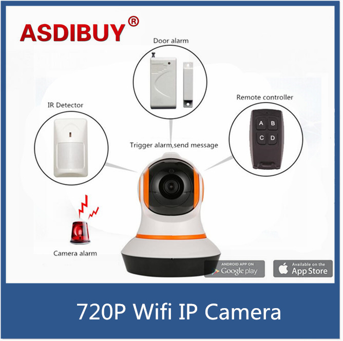 Home Security IP Camera System Wireless IP Wifi 720p HD with 433mhz Alarm Motion Door Sos Sensors App Control by Smart Phone escam wifi alarm system 433mhz 1527 motion detection ip camera hd 720p