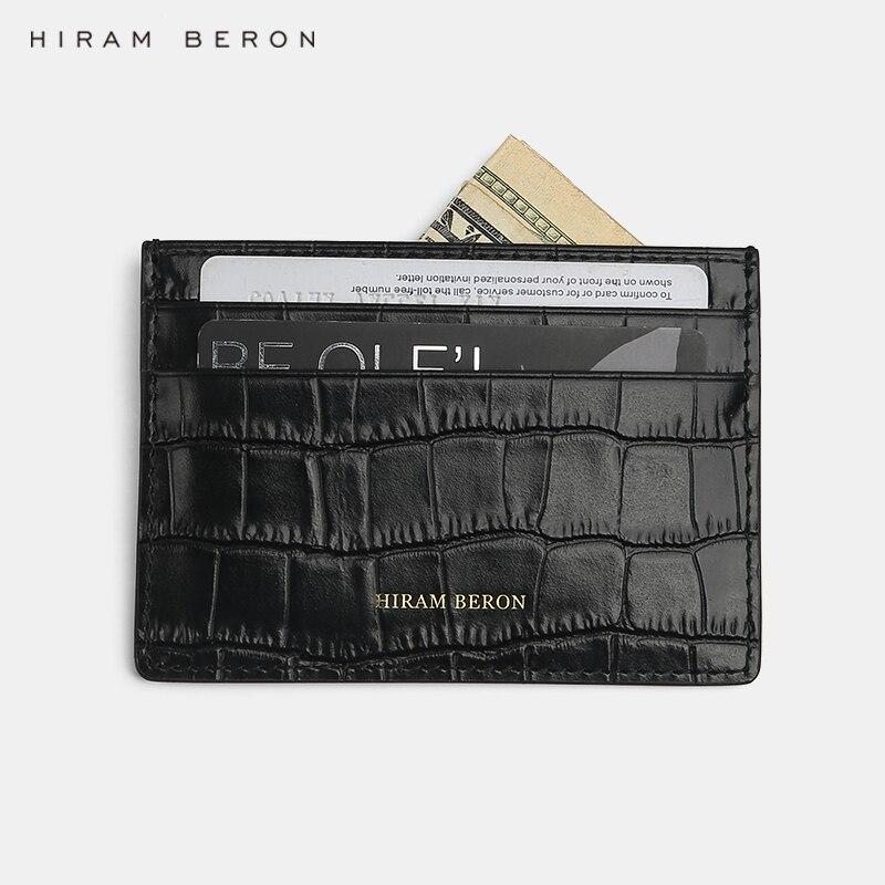 Hiram Beron a personnalisé votre porte-carte de crédit en cuir véritable motif Crocodile portefeuille Compact étui à cartes porte de mariage cadeau