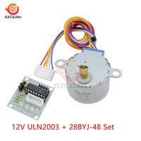 1 conjunto inteligente eletrônica 28byj-48 5v 12v 4 fase dc engrenagem stepper motor + uln2003 placa de motorista para arduino kit diy