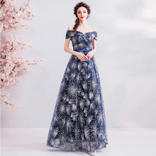 Short Sleeve Prom Gowns Deep Blue Boat Neck Bling A-line Floor-length Lace Up Back Customized Plus Size 2019 New Dress E220