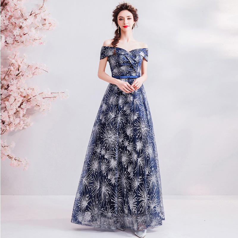 Short Sleeve   Prom   Gowns Deep Blue Boat Neck Bling A-line Floor-length Lace Up Back Customized Plus Size 2019 New   Prom     Dress   E220