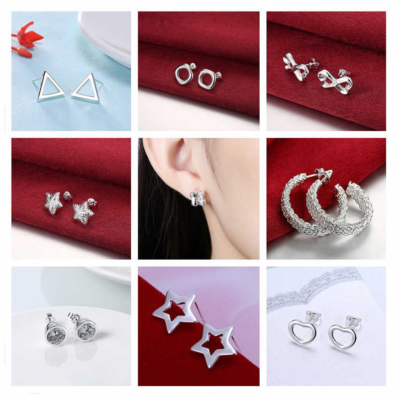 Romantic 925 stamped silver plated Infinity/Star/Triangle Stud Earrings Trendy Minimalist For Charm Women Jewelry Accessories