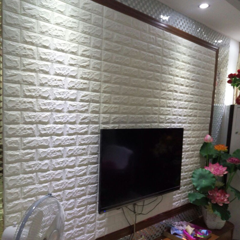 Fireproof 3D wall sticker Creative TV background wall self adhesive brick wallpaper living room decoration waterproof sticker in Wall Stickers from Home Garden