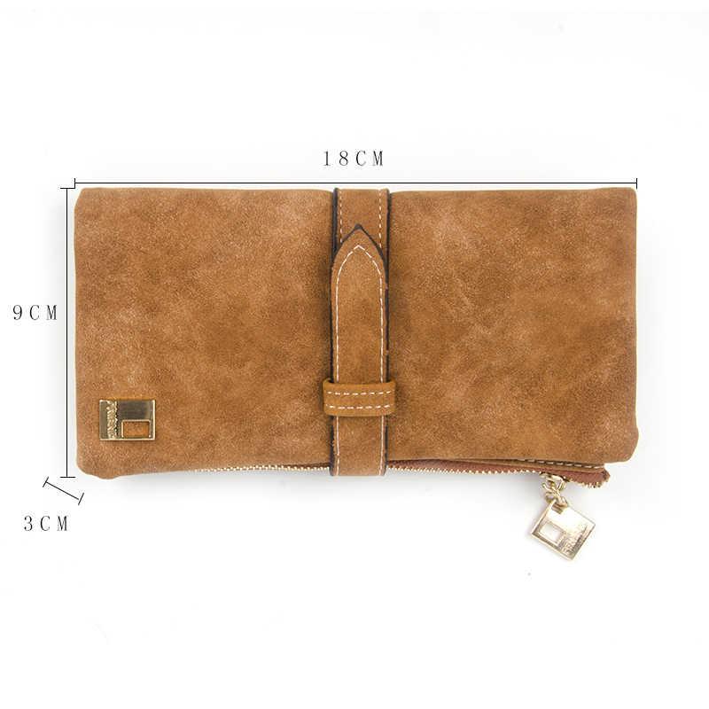 Berühmte Marke Lange Geldbörse Zwei Falten Frauen Brieftaschen Kordelzug Nubuk Leder Zipper Wildleder Brieftasche Damen Carteira Feminina Kupplung Tasche