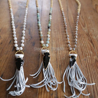 N15111002 Beads Rosary Chain Necklace Fringe Tassel Necklace Black Arrowhead Necklace