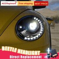 2Pcs LED Headlights For VW Beetle 2013 2015 led car lights Angel eyes xenon HID KIT Fog lights LED Daytime Running Lights