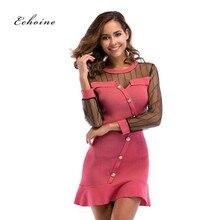 Echoine Summer Party Dress Elegant Women Button Lace Mesh Transparent Patchwork Bodycon Midi Ruffles Hem Dresses Woman Clothes