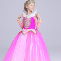 Free Shipping 2017 New Arrival Sleeping Beauty Princess Aurora Child Cosplay Costume Hallowwen Party For Kids