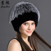Hats For Women 2016 Winter Natural Rabbit Fur With Fox Fur Beanies Cap For Female Casual