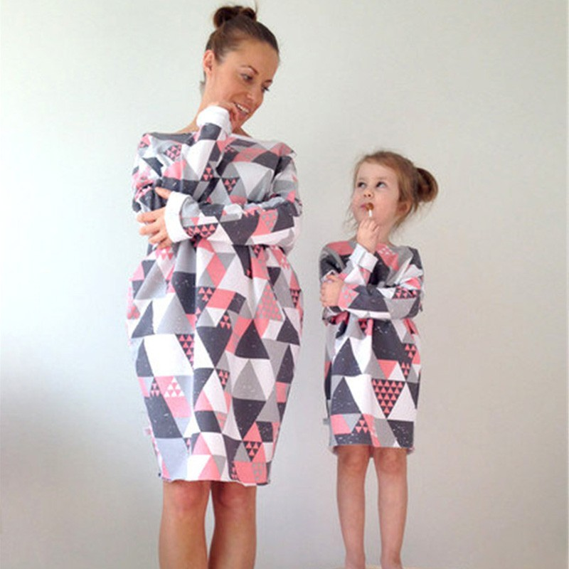 beforw-fashion-family-matching-clothes-diamond-pattern-puzzle-top-mother-and-daughter-t-shirt-long-style-children-clothing