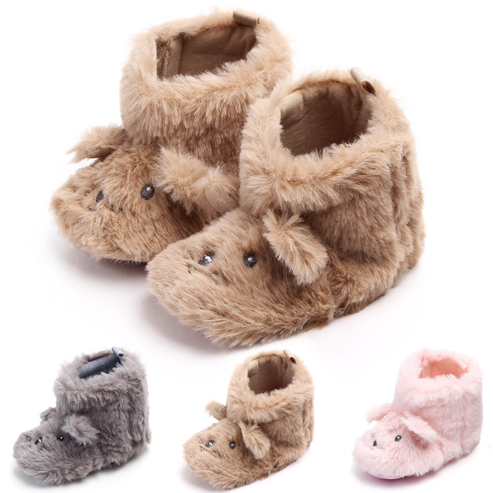 Baby Baby Shoes Cartoon Fluffy Plus Velvet Thick Plush Dog Ears In The Tube Boots Toddler Baby Shoes Lights & Lighting
