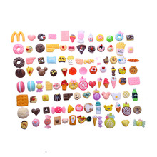 100PCS/Lot (random mix 100 not repeat)1/12 Mini Food Cakes Donuts Candy Biscuit For  doll