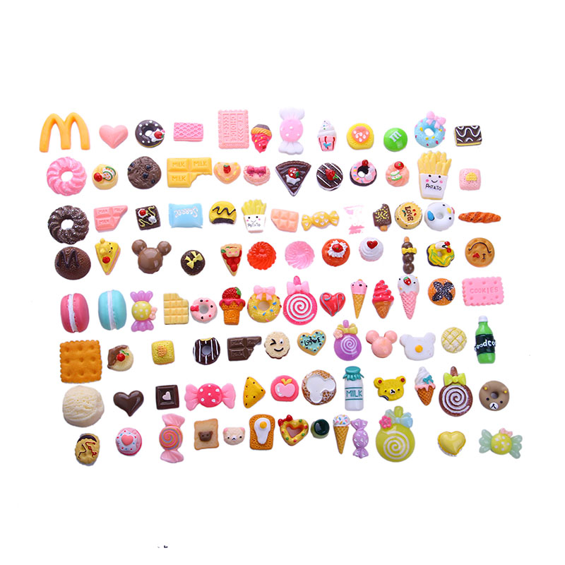 100Pcs/Lot 1/12 Mini Fine Food Cakes Donuts Candy Biscuit Fit 18 Inch Girl&43 CM Baby&14.5'' Wellie Wishers Doll Accessories