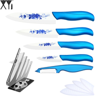 XYJ Brand Ceramic Knife 6 Pcs Set Flower Pattern White Blade 3 4 5 6 Kitchen