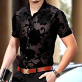2017 Flor Camisas Dos Homens Ver Através de Camisas Artigo Camisas Camisas Pretas Malha Mens Camisas de Vestido Da Moda Sexy Transparente Moda Clube 3XL