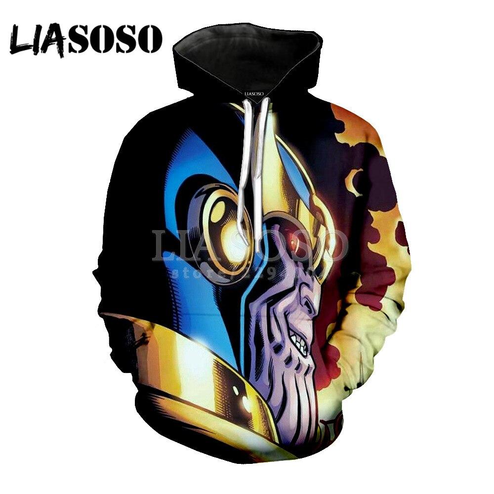 LIASOSO 3D Hoodies Men Ironman Thanos 3D Full Print Anime Hoody Sweatshirts Sportwear Long Sleeve Streetwear Top Pullover Y058